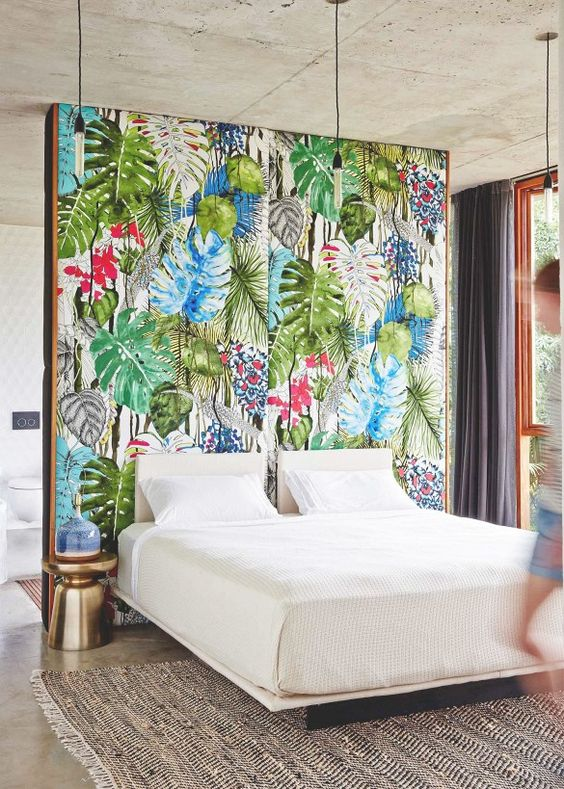 bold tropical fabric wall for a bedroom