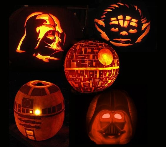 carved Star Wars pumpkin lanterns