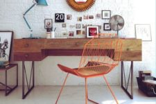 06 mid-century modern home office with a boho flavor is complemented with a white brick wall