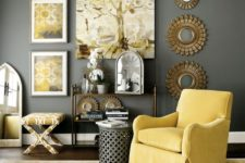 06 rather dark grey wall and a side table, sunny yellow armchair, artworks and a printed chair