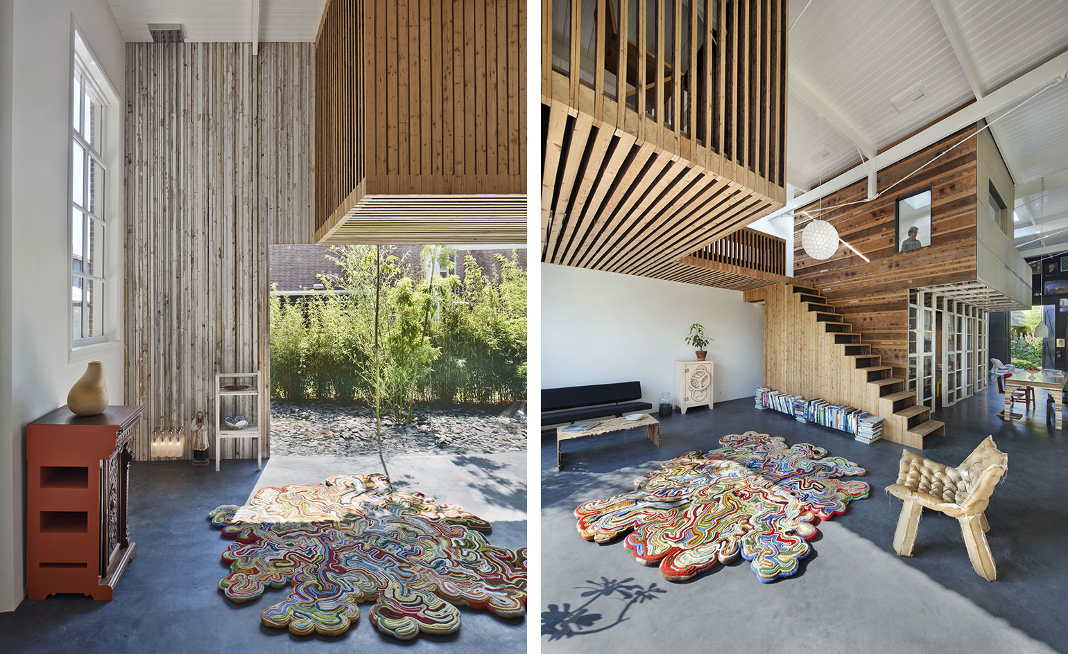 A sculptural structure in the middle connects and divides the space at the same time