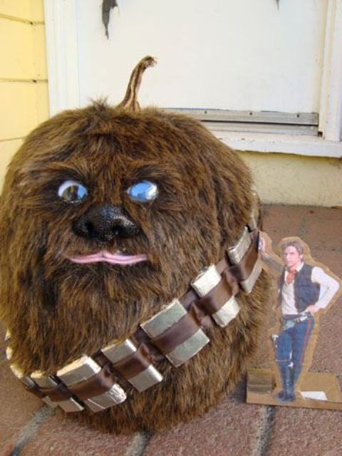 Chewbacca pumpkin made using fur and faux eyes and a nose