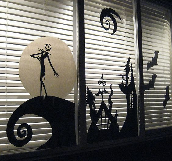 Jack Skellington scene for the window made from cardboard