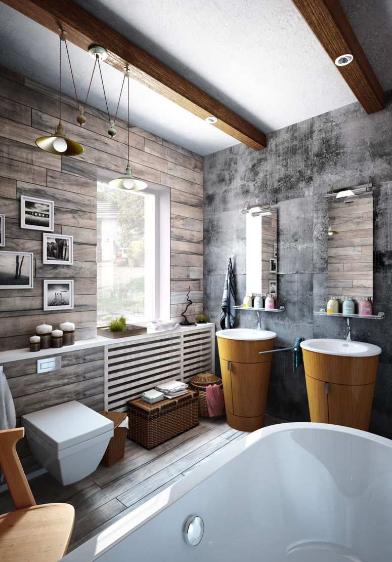 The bathroom is decorated with grey barnwood and concrete