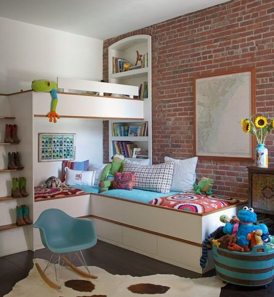 brick walls bring personality to this kid's room