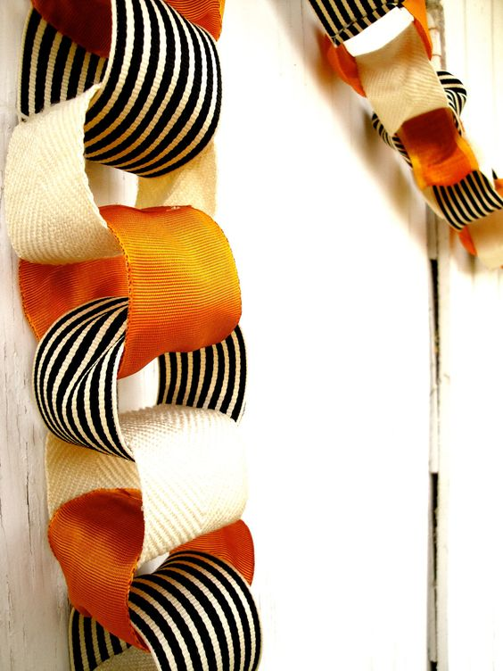 cream, orange and black and white ribbon garland