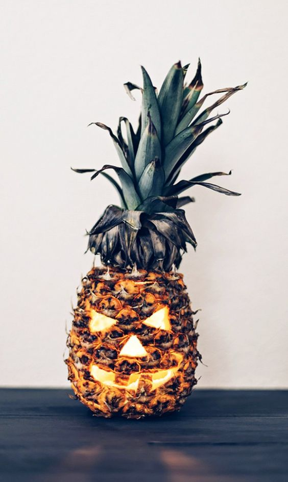 pineapple jack o lantern is a fun take on a traditional one