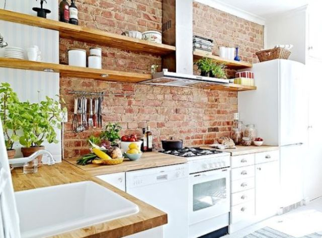 rough brick to turn a simple kitchen into an original one - Accent Wall Ideas For Kitchen