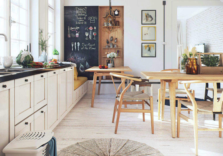 The kitchen is full of light and very comfy, warm woods add to the decor