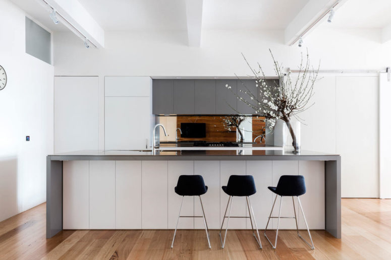 The minimalist kitchen is done in white and grey, it's clear and uncluttered