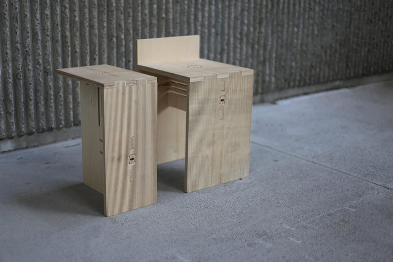 Modern knock down plywood furniture made with no screws for Furniture that can be disassembled