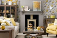 08 grey and yellow floral wallpaper, a grey fireplace panel and a yellow chair and pillows