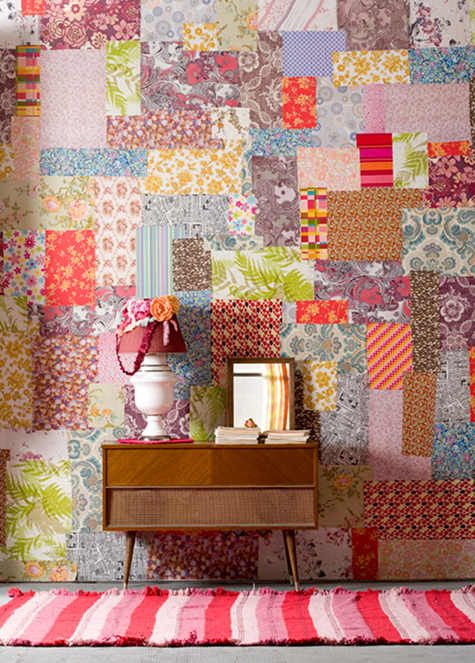 super bold patchwork entry made with fabric remnants