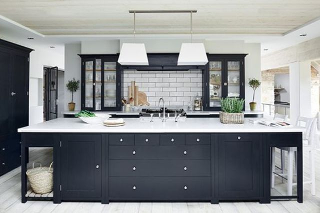 traditional monochrome kitchen in a charcoal and creamy white