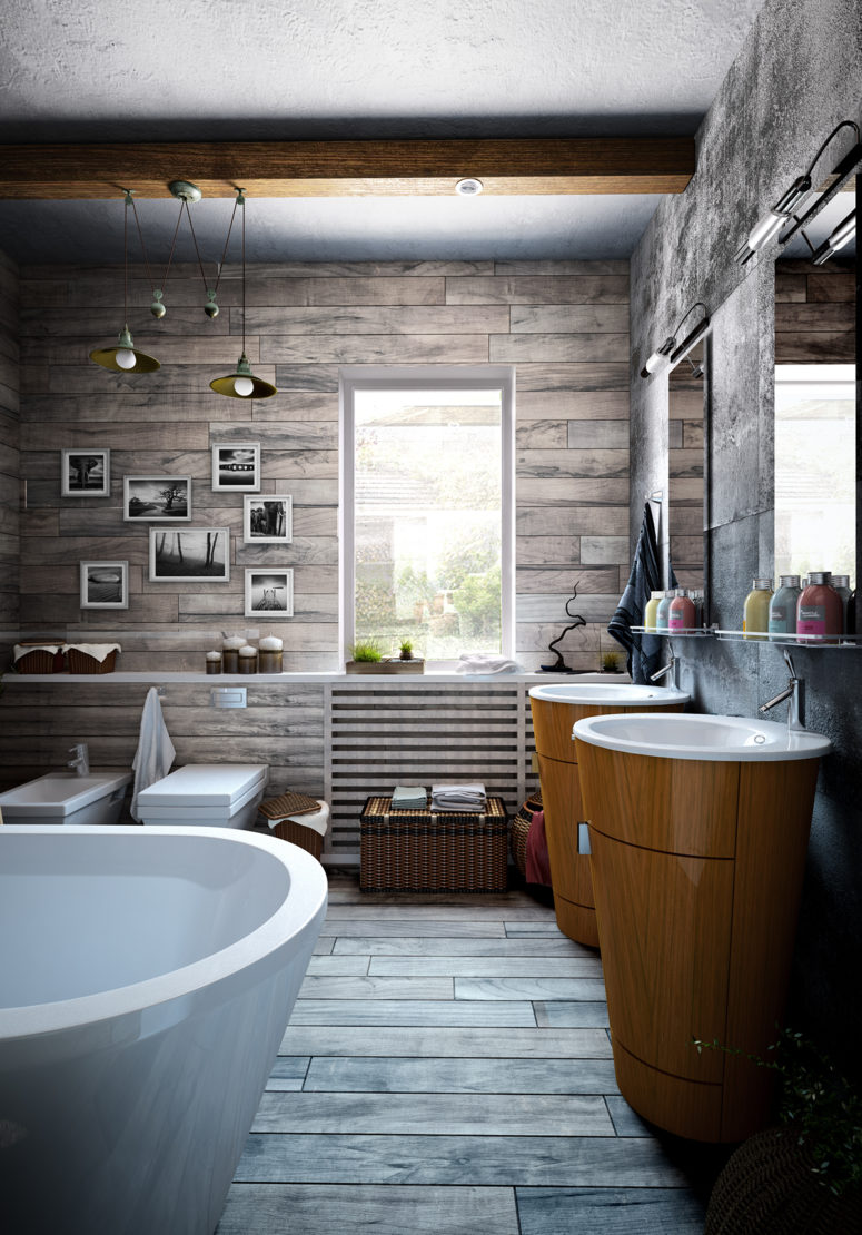 A gallery wall and candles are a nice idea to make a bathroom comfy
