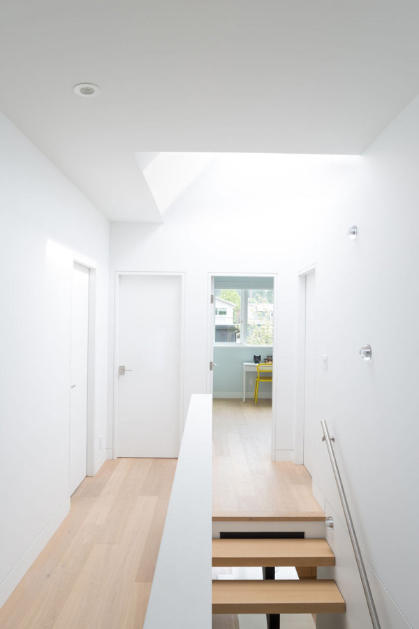 A skylight bring much daylight in and makes the spaces more airy and open