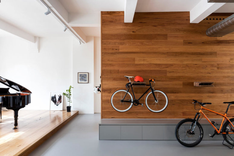 At the entrance you'll see bikes on wall-mounted shelves as the owners love riding them