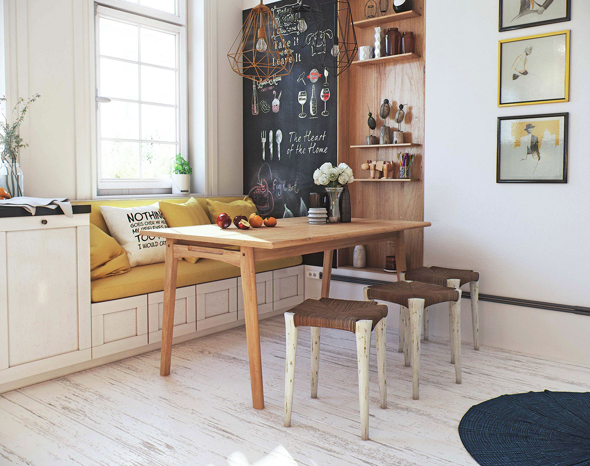 Built in furniture here allows to accomodate everything necessary