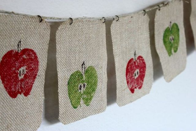 burlap banner with apples printed to bring a rustic feel