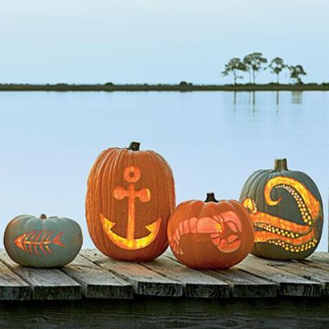 fish bones, anchor, lobster, octopus pumpkins for seaside homes (perfect to put together on one pumpkin stand)