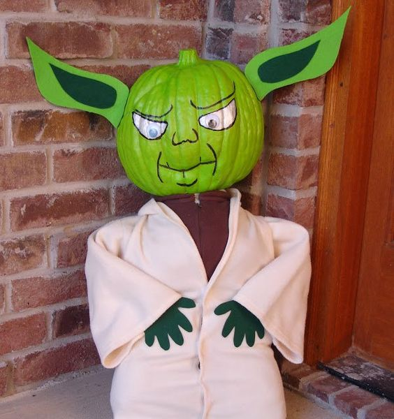 painted Master Yoda pumpkin - just add a body