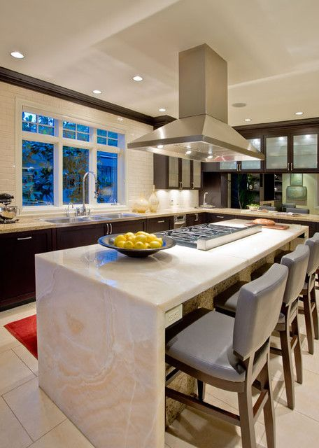 32 trendy and chic waterfall countertop ideas digsdigs for Seamless quartz countertops