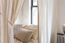 09 simple white curtains separate the comfy sleeping space making it more relaxing