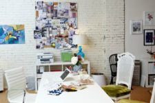 09 whitewashed brick is a perfect backdrop for a modern creative home office