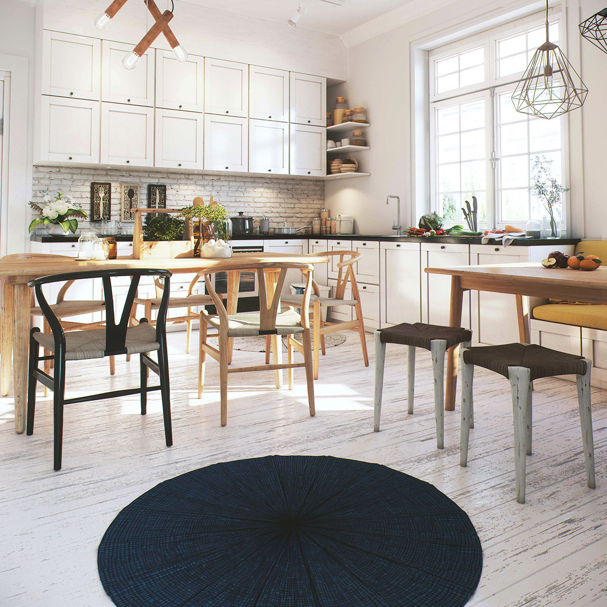 The kitchen cabinets are closed to de clutter the space and make it look more solid