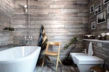 wood clad bathroom