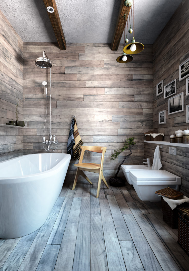 Wood clad is trendy for bathrooms, it makes you feel like in a spa