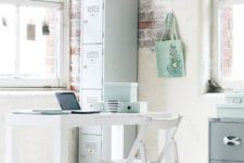 10 airy and light home office with uneven brick walls and aqua accents