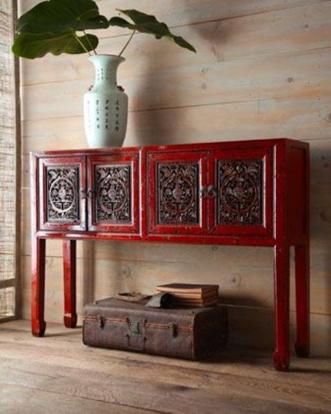 hot red credenza looks cool in a light wood backdrop
