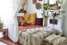 10 this crochet curtain not only sections off the sleeping space but also adds to its boho decor
