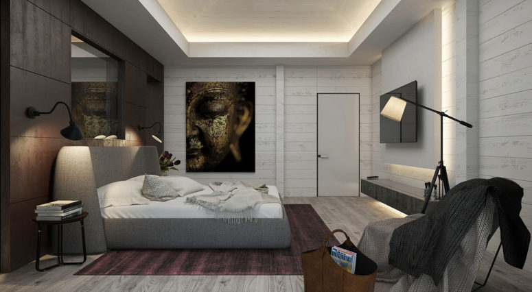 Another bedroom is modern with a cool Eastern art