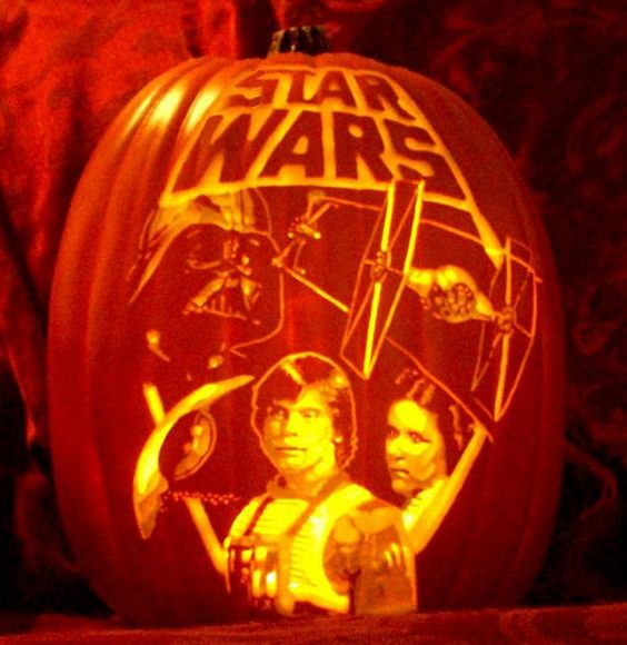 Star Wars Halloween pumpkin carving with Leia, Luke and Darth Vader