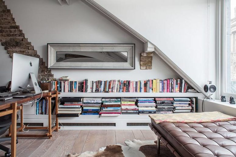 The home office is an attic one, filled with light and very inviting