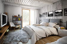 11 The master bedroom is decorated with grey barnwood, brick and concrete, light woods make it cozy