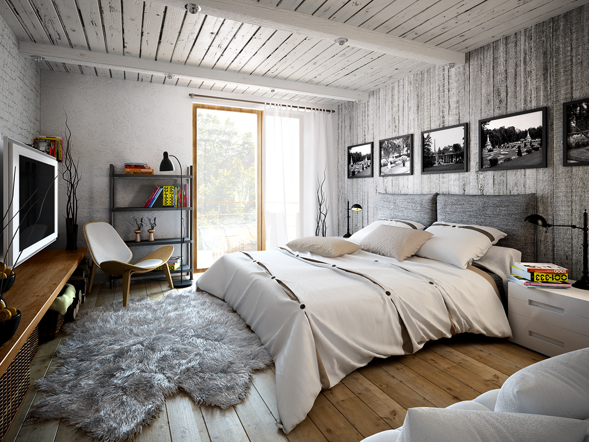 The master bedroom is decorated with grey barnwood, brick and concrete, light woods make it cozy