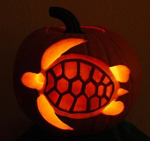 sea turtle pumpkin carving for seaside-inspired fall decor
