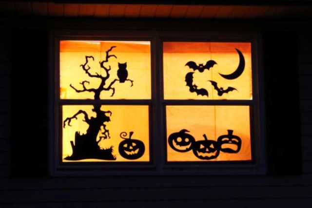 silhouettes are great Halloween window decorations and can really jazz up your home for trick or treat night