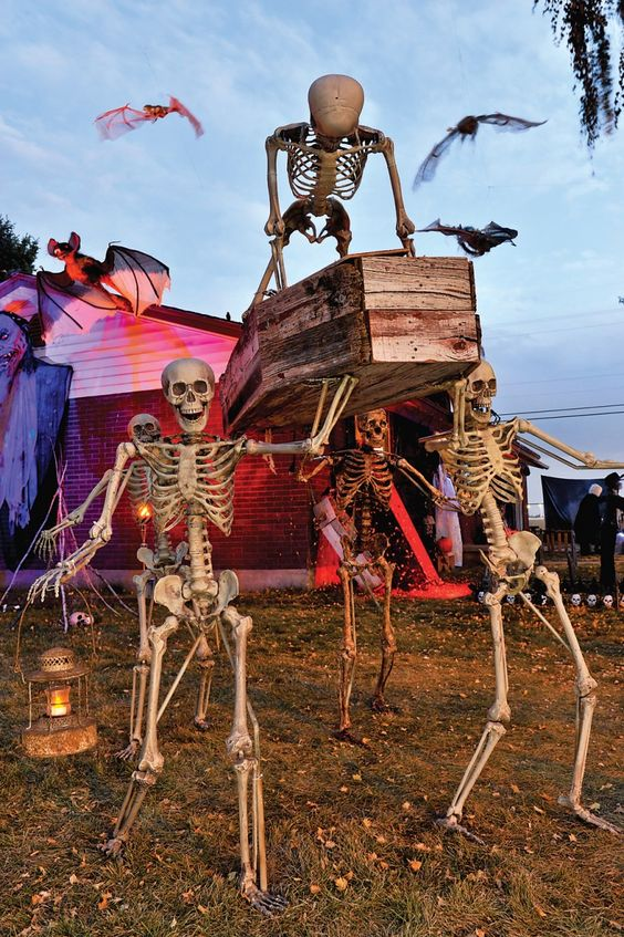 spooky skeleton scene with a wooden coffin