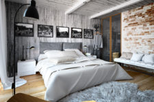 12 An upholstered bed, a fur rug and a soft bench create an ambience