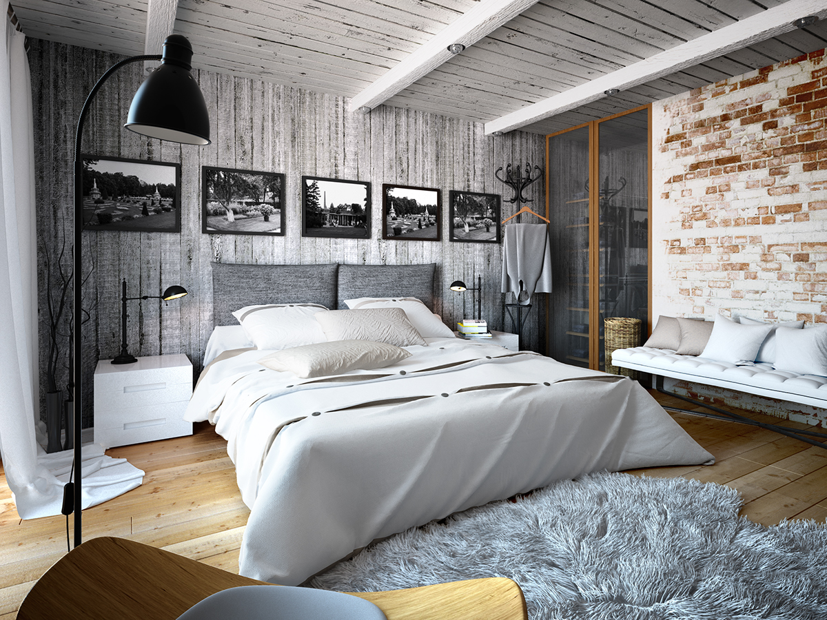An upholstered bed, a fur rug and a soft bench create an ambience