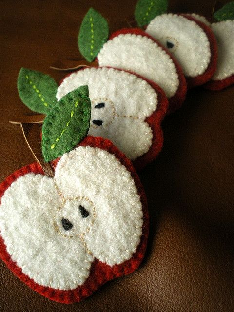 felt apple garland