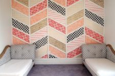 12 herringbone patchwork wall of colorful pieces