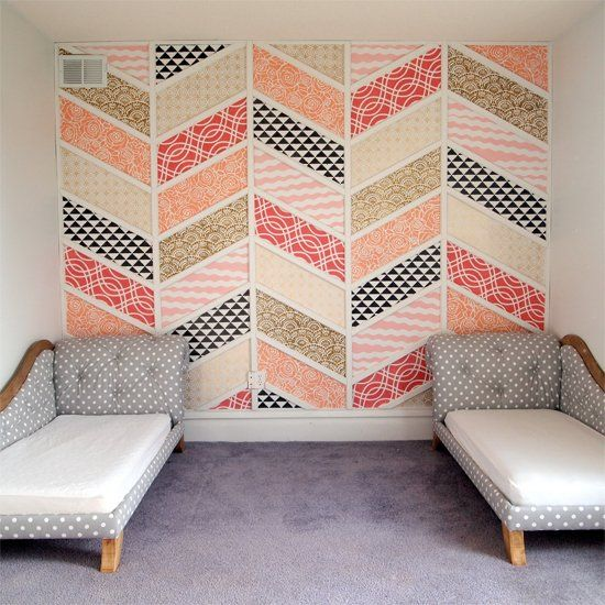 herringbone patchwork wall of colorful pieces