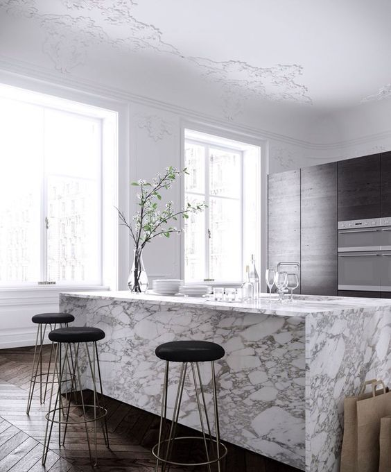 marble kitchen benchtop with waterfall edge and overhang