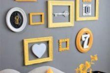 13 a grey gallery wall bold yellow frames