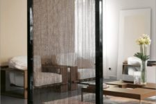 13 mobile chain screen in a black metal frame to slightly divide modern spaces